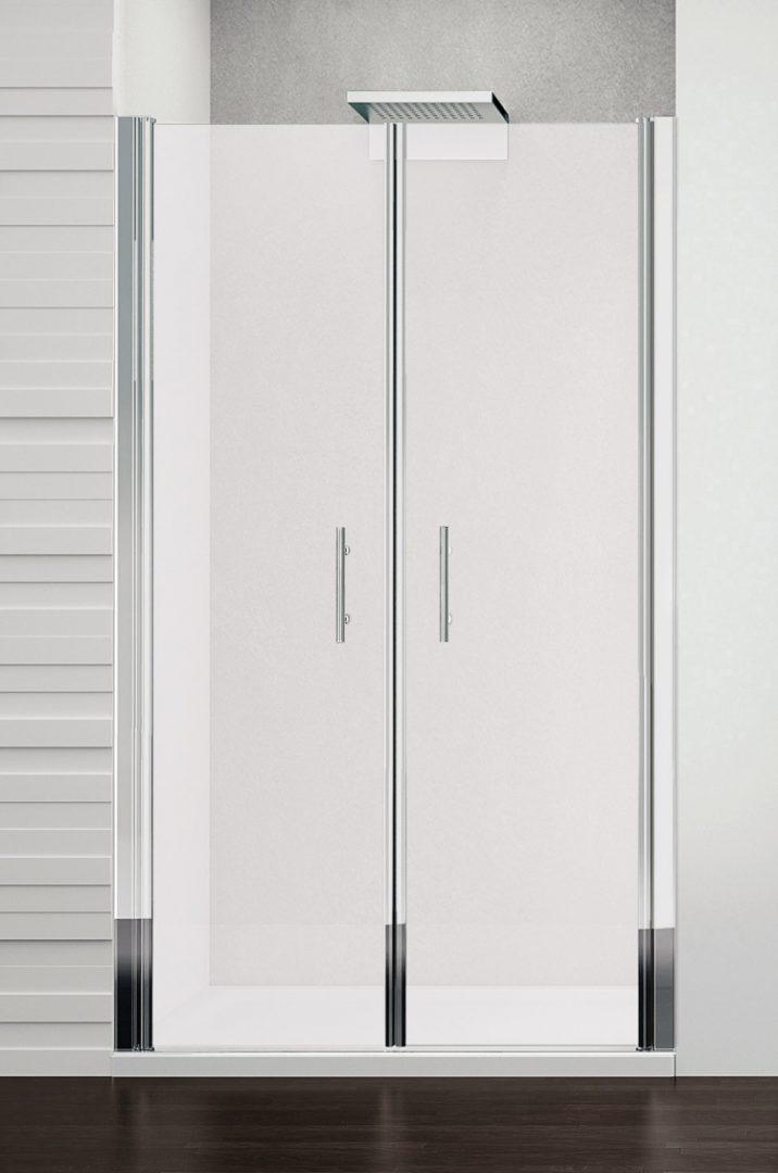 Душевая дверь YOUNG 2B 84-90*190 проф chrome, стек satin (YOUNG2B84-4K)